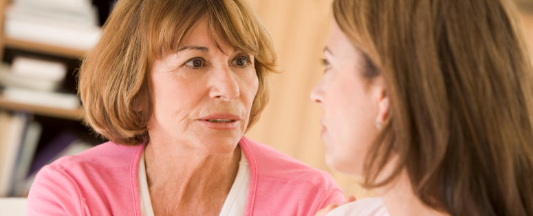 Two women talking through a problem
