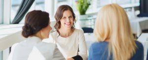 women meeting in restaurant